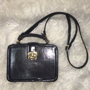 Vintage Black and Gold Structured Crossbody